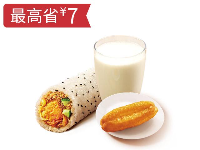 金沙咸蛋黄肉酥饭团+油条+饮品随心换