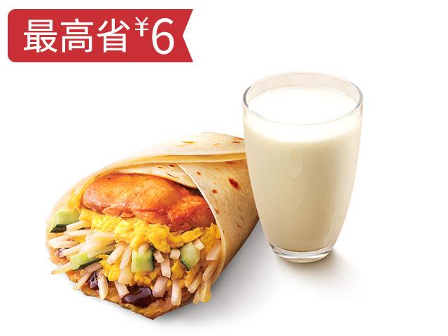 大饼卷香烤鸡扒蛋+饮品随心换