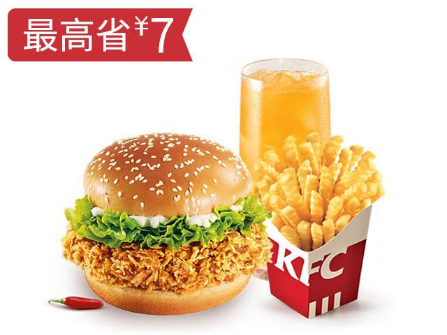 香辣鸡腿堡+波纹薯条+饮品随心换