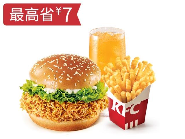 劲脆鸡腿堡+波纹薯条+饮品随心换